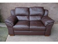 Comfy two and three seater brown leather sofas