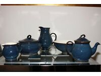 Brecon blue by Bhs Classic design pieces-Tea pot, pitcher jug,terrine serv dish,salad bowl&milk jug.