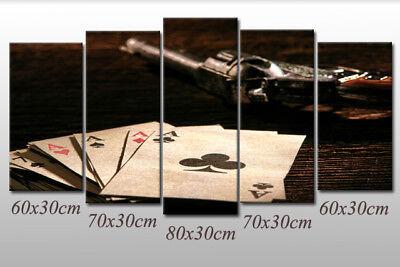Leinwand-Bild Spielkarten Black-Jack Poker Karten mit Colt Revolver Retro Style