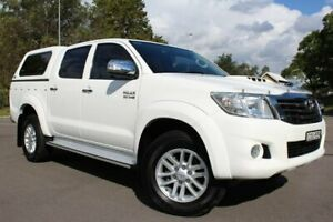 2013 Toyota Hilux KUN26R MY14 SR5 Double Cab White 5 Speed Automatic Utility Taylors Beach Port Stephens Area Preview