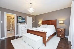 Solid wood queen-size bed frame and headboard
