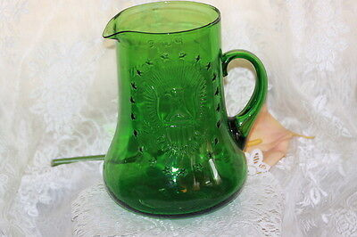 Vintage LARGE Early American Green Glass Beverage Pitcher Elixer Half Gallon
