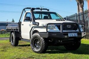 2012 Toyota Hilux KUN26R MY12 SR White 5 Speed Manual Cab Chassis Wangara Wanneroo Area Preview