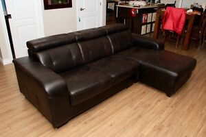 Sofa sectionnel cuir synthétique