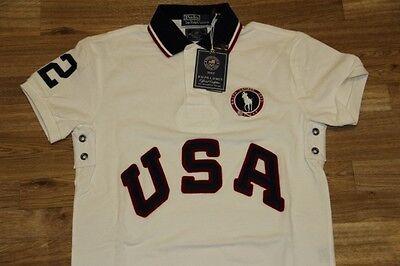 Ralph Lauren Men White Shirt USA Big Pony Medium M  Custom-Fit RL Olympic