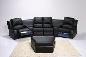 MADNESS SALE!! Brand New LEATHER  POWER RECLINING THEATRE SEATING SECTIONAL