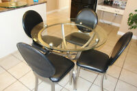 "42"" Glass Dining Table set with 4 chairs"