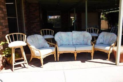 3 piece cane setting for family room and 3 bar stools