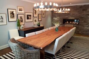 Reclaimed Wood Live Edge Slab Harvest Tables & Dining Tables
