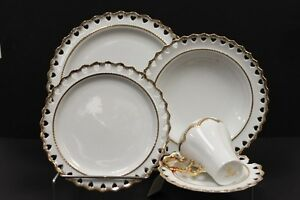 20 pcs Fancy White & Gold Dinner Set for 4, New in Box, $170 obo