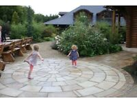 TINTED MINT NATURAL SANDSTONE PAVING SLABS (RANDOM PATTERN) FEATURE CIRCLES & COBBLES ALSO AVAILABLE