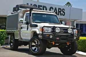 2012 Toyota Landcruiser VDJ79R MY10 GXL White 5 Speed Manual Cab Chassis Taringa Brisbane South West Preview