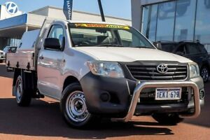 2013 Toyota Hilux TGN16R MY14 Workmate 4x2 Glacier White 5 Speed Manual Cab Chassis