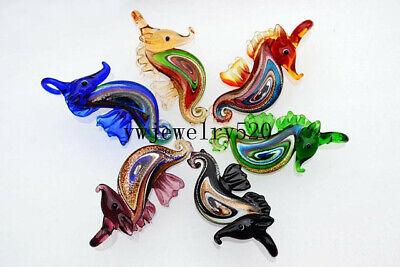 Seahorse Bead Pendant (FREE Wholesale Bulk 6Pcs Animal seahorse Murano Glass Bead Pendant Fit)