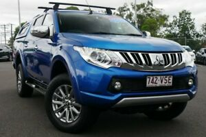 2015 Mitsubishi Triton MQ MY16 Exceed Double Cab Blue 5 Speed Sports Automatic Utility Hillcrest Logan Area Preview