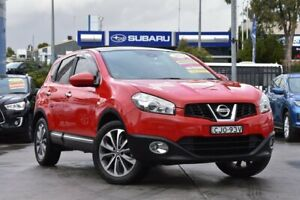 2012 Nissan Dualis J10 Series II MY2010 Ti Hatch Red 6 Speed Manual Hatchback Penrith Penrith Area Preview