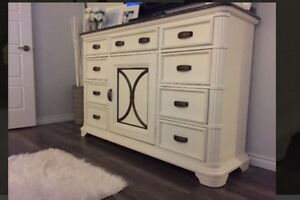 SOLID WOOD white wash dressers with mirror