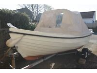 Orkney Spinner 13ft Fishing/Day boat, Tohatsu 9.9hp two stroke outboard, trailer, fish Finder