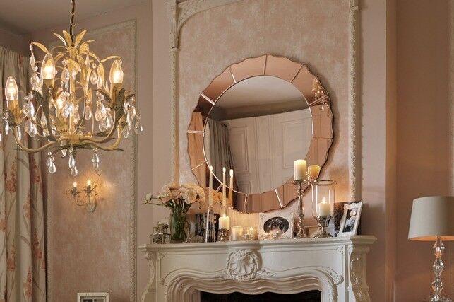 New In Box Laura Ashley Lovara Rose Wall Mirror Round