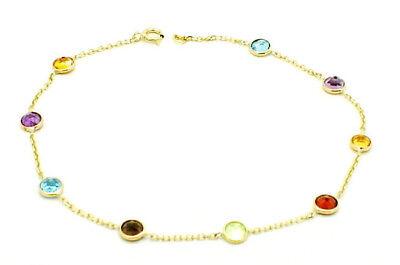 Round Shaped Gemstone Bracelet (14K Yellow Gold Round Shaped Gemstone Bracelet 8.5)
