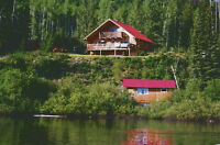 Waterfront log home plus log guest cabin on Nation Lakes Chain