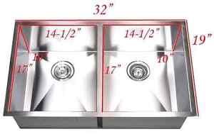 32 Inch Stainless Steel Undermount 50/50 Kitchen Sink