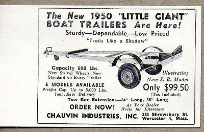 - 1950 Print Ad Little Giant Boat Trailers Chauvin Industries Worcester,MA