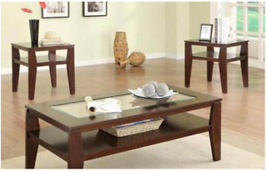 Solid Wood Coffee table with insert tempered glass +2 End Tables