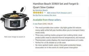Hamilton Beach 33969 Set and Forget 6-Quart Slow Cooker