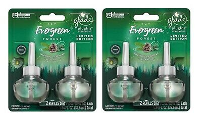 4 Glade Plugins Oil Refills Icy Evergreen Forest Air Freshener Limited Edition