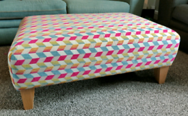 DFS Multi coloured Footstool and matching cushion covers