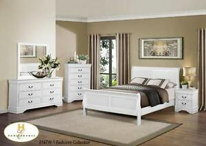 DOUBLE OR QUEEN LOUIS PHILLIPE SLEIGH BED $289- GREY/WHITE/WALNU