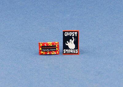 (1:12 Scale Dollhouse Miniature Halloween Candy Corn Bag & Book Set #HCX110)