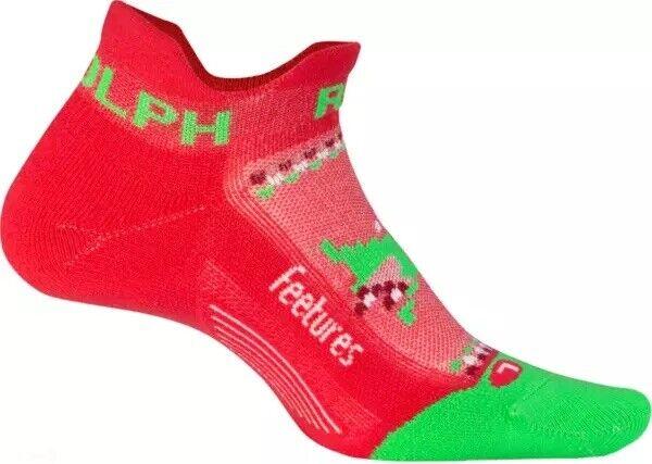 Feetures Elite Light Cushion No Show Tab Socks *Limited Ed* Run Rudolph M/6-8.5