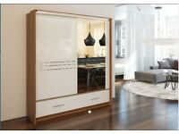 Dutch WHITE 203 Sturdy Free Standing Wooden Sliding Door Wardrobe SLIDER