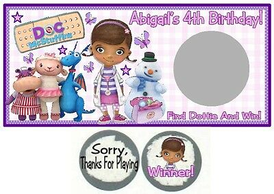 10 Doc McStuffins Birthday Party Or Baby Shower Scratch Off Game Cards Tickets - Doc Mcstuffins Baby Shower