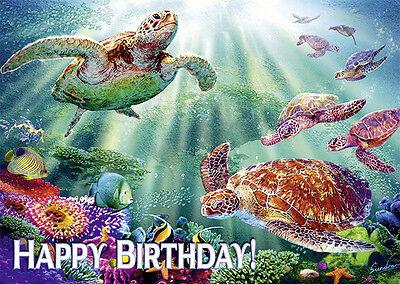 4 GREETING CARDS Hawaiian HAPPY BIRTHDAY Turtle Voyage - - Happy Birthday Turtle