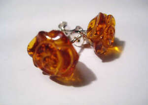 Baltic Amber Sterling Silver Earrings,Rose shape,Gorgeous !