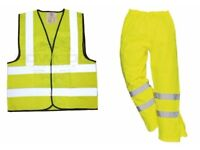 High Visibility Waterproof Over-trousers Large & Waistcoat size XL - BRAND NEW