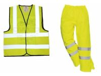 High Visibility Waterproof Over-trousers M & Waistcoat size XL - BRAND NEW