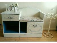 Stunning Shabby Chic Old White and Teal Telephone seat Hall Table