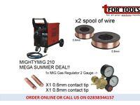Sealey MIGHTYMIG210 Gas / no-gas Mig Welder 210amp Euro Torch + 5KG Wire