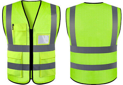 Safety Vest With Meshfabric High Visibility Reflective Stripes Yellow Wpockets