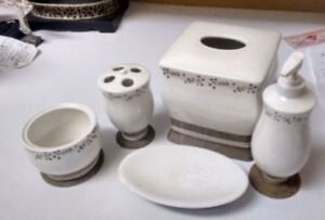 Elegant Off-White Bathroom Accessories Set - 5 Pieces