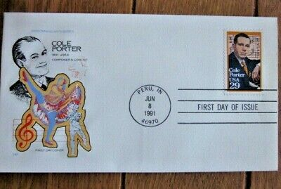 COLE PORTER POPULAR GAY WITTY COMPOSER SHOW TUNES 1991 FARNAM CACHET FDC UNADDR