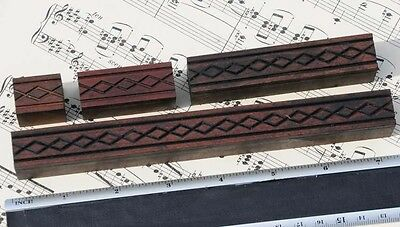 4x Ornament Wood Letterpress Wooden Printing Blocks Type Ornaments Antique Line