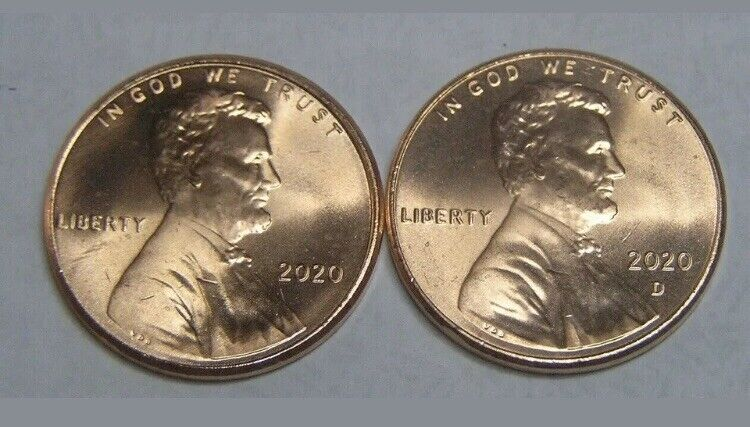 """2020 P&D UNC LINCOLN SHIELD CENTS """"FREE SHIPPING"""""""