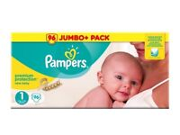 Pampers Size 1, Jumbo Pack, 96 Nappies