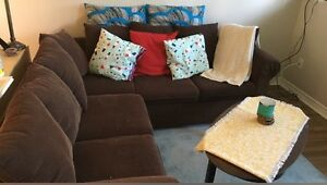 Brown Sectional Couch and Coffee Table - Pick Up Only