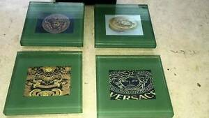 SET OF 4 VERSACE GLASS CLEAR COASTERS IN BLACK WOODEN BOX Sydney City Inner Sydney Preview
